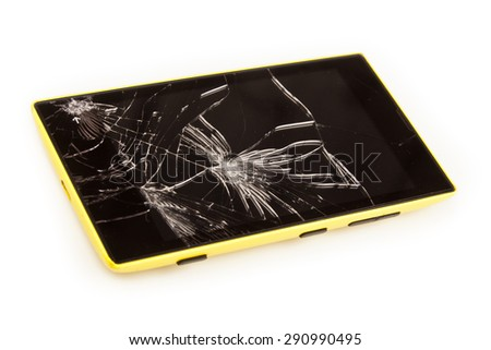 broken smart phone - stock photo