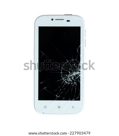 Broken smart phone isolated on white background - stock photo