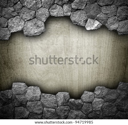 broken stone with wood board - stock photo