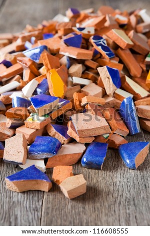 Broken tiles for a mosaic arts and crafts project - stock photo