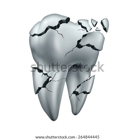Broken tooth dental symbol and toothache dentistry concept as a single cracked damaged molar on an isolated white background. - stock photo
