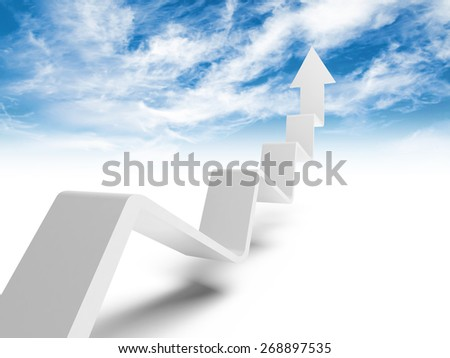 Broken trend line with arrow on end going up to the heaven, 3d illustration with cloudy sky photo background - stock photo