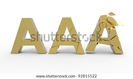 Broken triple A golden symbol  isolated on white background - stock photo
