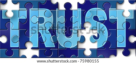 Broken trust symbol represented by a broken jigsaw puzzle picture showing the business metaphor of morality and illegal financial bank and stocks transactions. - stock photo