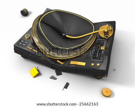 broken turntable, 3d render - stock photo