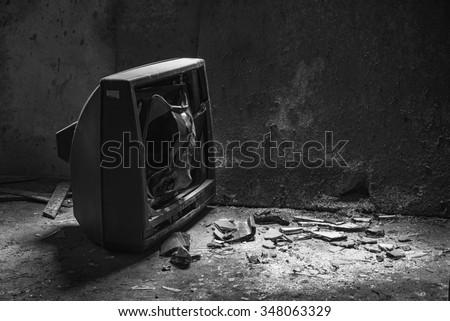Broken tv - stock photo