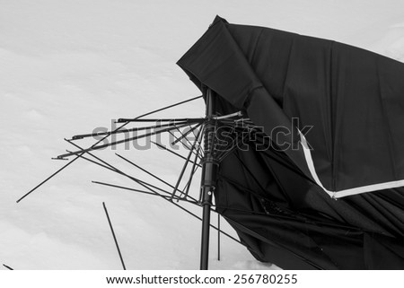 Broken umbrella. - stock photo