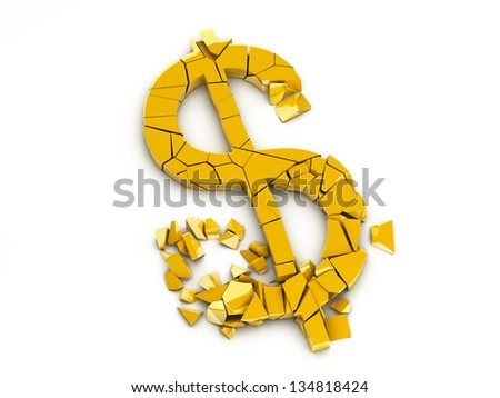 Broken US Dollar Sign With Clipping Path