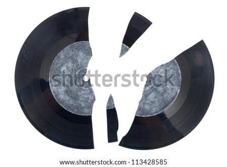 Broken vinyl - stock photo