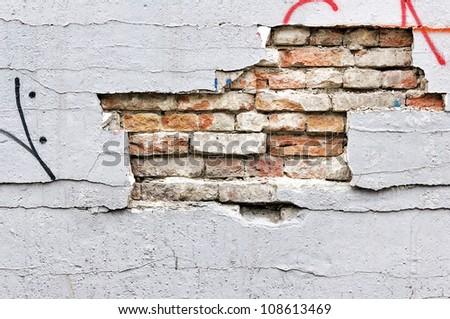 Broken wall texture - stock photo