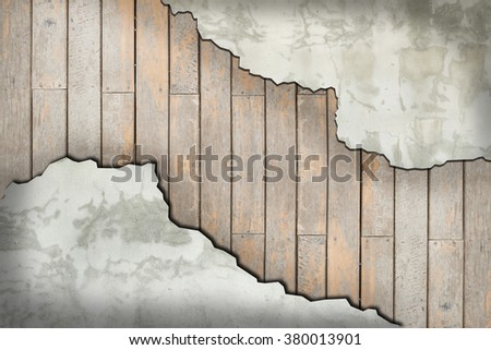 broken wall with wood background - stock photo