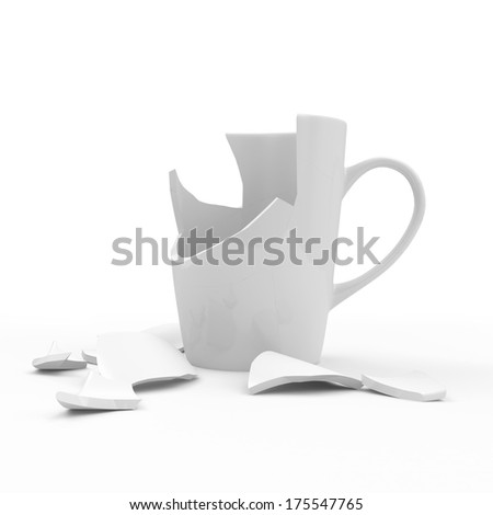Broken White Cup isolated on white background - stock photo