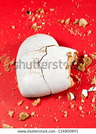 Broken white heart honey cookie - stock photo