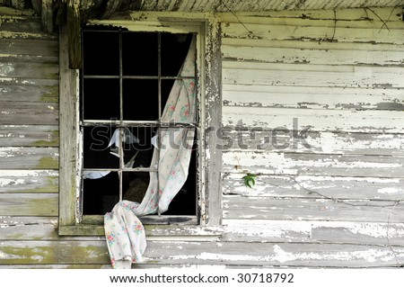 Broken Window in an Abandoned House Horizontal - stock photo