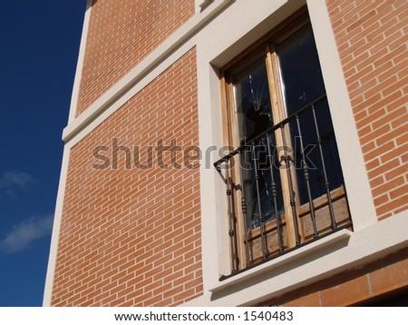 broken window, modern building - stock photo