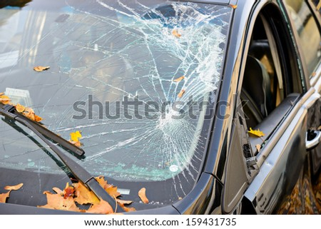 Broken Windshield  - stock photo