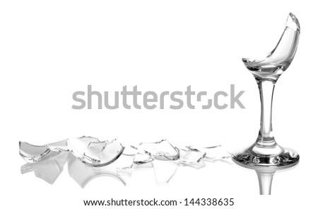Broken wineglass isolated on white - stock photo