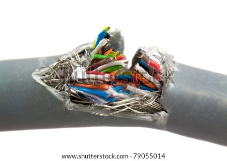 Broken wires isolated on white background - stock photo