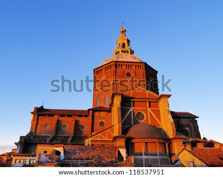 Broletto Cathedral in Pavia, Lombardy, Italy - stock photo