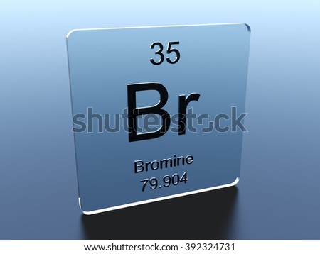 Bromine symbol on a glass square - stock photo