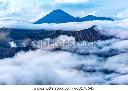 bromo and semeru mount in the cloud view from penanjakan tengger early morning