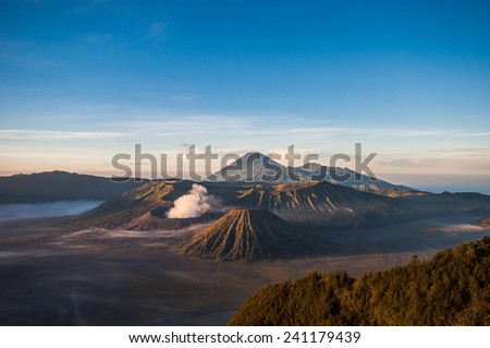 BROMO , INDONESIA - 15 MARCH 2014  :   Bromo volcano at main view point in the morning.