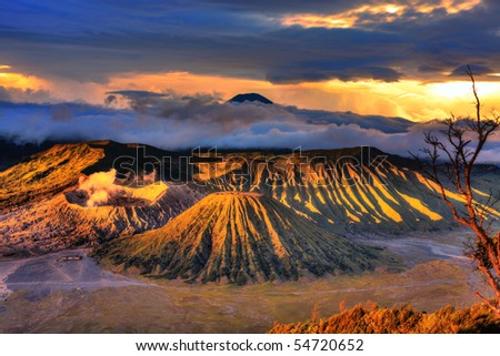 Bromo Tengger Semeru national park. Java. Indonesia - stock photo