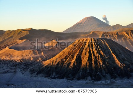 Bromo volcano at sunrise, Java, Indonesia - stock photo