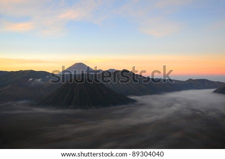 Bromo volcano at sunrise, Java, Indonesia - stock photo