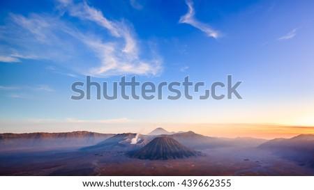 Bromo volcano at sunset,Tengger Semeru national park, East Java, Indonesia - stock photo