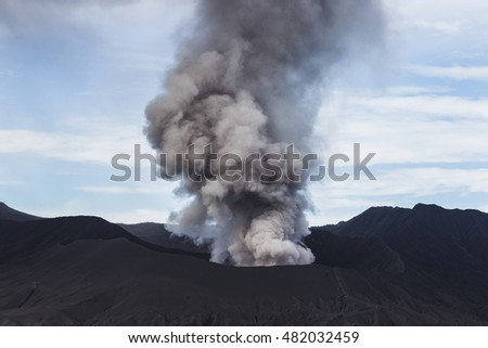 Bromo volcano eruption on Java island in Indonesia