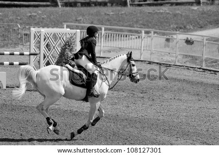 BROMONT-CANADA JULY 20: Unknown rider on a horse during 2012, INTERNATIONAL BROMONT on July 20, 2012 At the Equestrian 1976 Montreal Olympic Park.