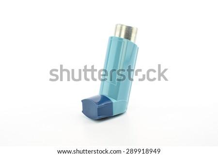 Bronchodilator inhaler using in Asthma patient on white background. - stock photo