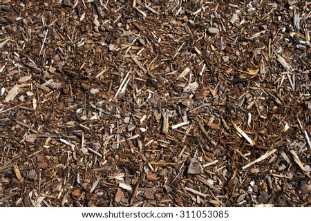 Bronish bark mulch texture as used to cover or dung beds, texture, material - stock photo