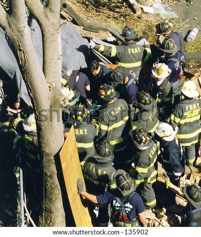 Bronx Building Collapse2 - stock photo