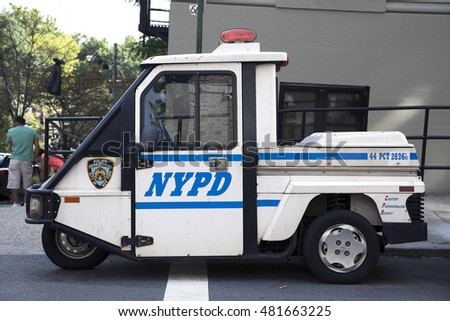 BRONX, NEW YORK - AUGUST 21: NYPD emergency service vehicle parked during a Yankee Stadium ball game.  Taken August 21, 2015 in  New York.