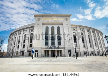 BRONX, NEW YORK CITY  - MARCH 8, 2014: View of Yankee Stadium in the South Bronx in New York City. It is the home ballpark for the New York Yankees. - stock photo