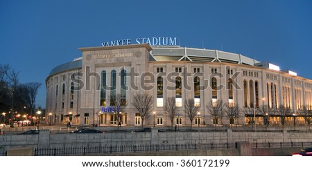 BRONX, NEW YORK - DECEMBER 5: The new Yankee Stadium at night.  Taken December 5, 2014,  Bronx, N Y. - stock photo