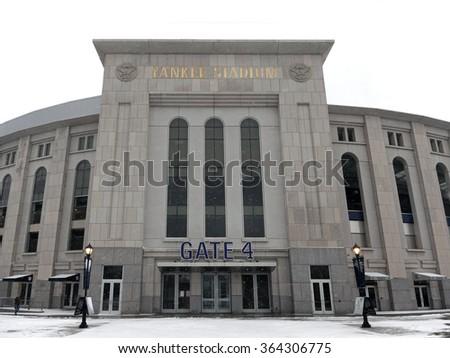 BRONX, NEW YORK - FEBRUARY 19: The new Yankee Stadium during snow season.  Taken February 19, 2015, in the Bronx,  New York. - stock photo