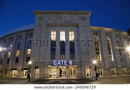 BRONX, NEW YORK - JUNE 20: Yankee Stadium at twilight.   Taken June 20, 2014 in the County of the Bronx, NY. - stock photo