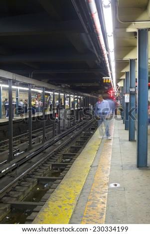 BRONX, NEW YORK - MAY 26: New York City subway dirty platform.   Taken May 26, 2013 in New York City. - stock photo