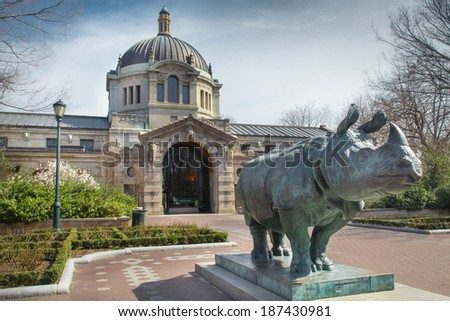 BRONX, NY - APRIL 14, 2014:  Landmark Zoo Center Building, formerly Elephant House, at the Bronx Zoo in New York City. This world famous zoo opened in 1899.  - stock photo
