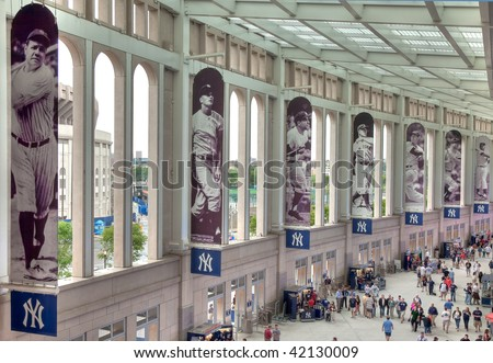 BRONX, NY- JUNE 13: A view of the promenade in the new billion dollar Yankee Stadium, home of the 2009 World Series Champions New York Yankees on June 13, 2009 in the Bronx, NY. - stock photo