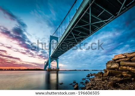 Bronx Whitestone Bridge at sunset - stock photo