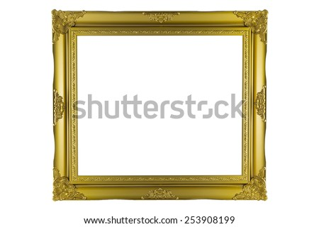 Bronze and Gold Frame vintage isolated on white background. - stock photo