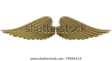 Bronze angel wings isolated on white background. - stock photo