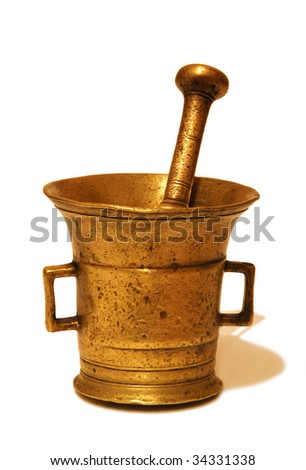 Bronze antique mortar and pestle at the white background - stock photo