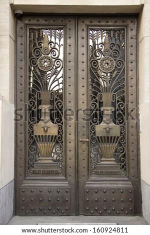 Bronze Art Deco door - stock photo