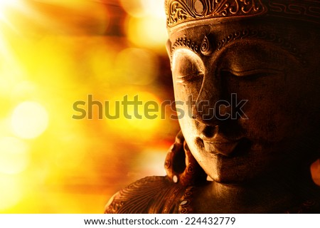 bronze buddha statue  - stock photo