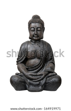 Bronze buddha statue isolated over white with clipping path - stock photo